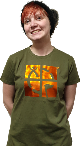 GeoTee Khaki with Electric Orange