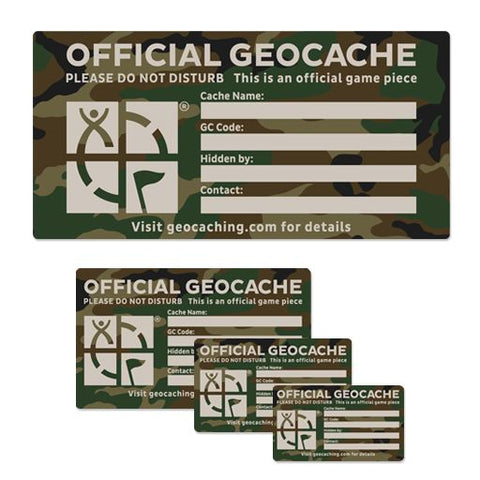 Geocache Label Green Camo