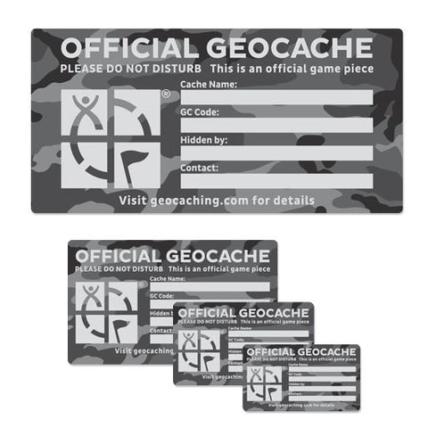 Geocache Label Urban Camo