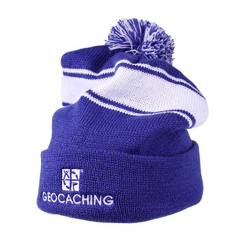 Geocaching Pom Pom Beanie- Royal/White