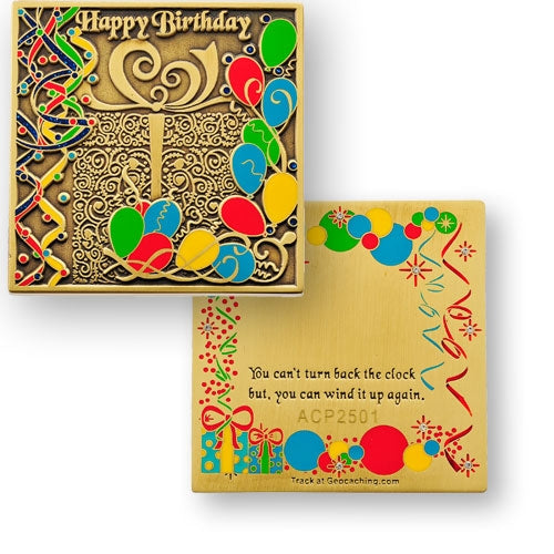 Happy Birthday Engravable Geocoin - Bronze