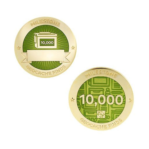 Milestone Geocoin and Tag Set - 10000 Finds
