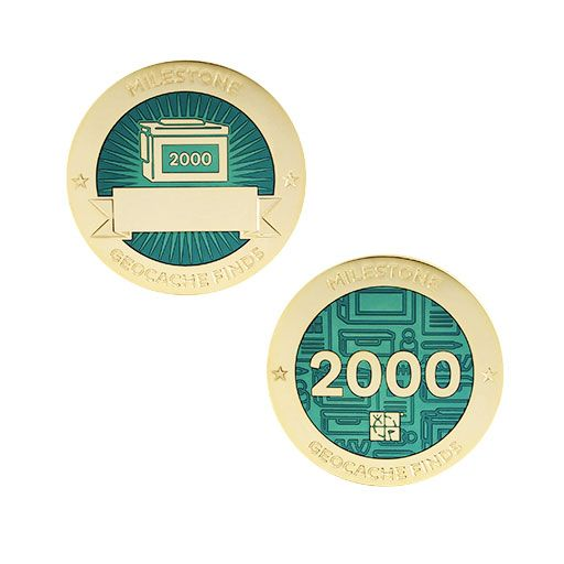 Milestone Geocoin and Tag Set - 2000 Finds
