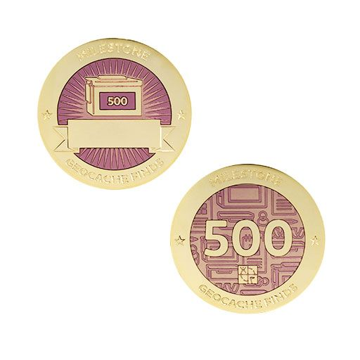 Milestone Geocoin and Tag Set - 500 Finds