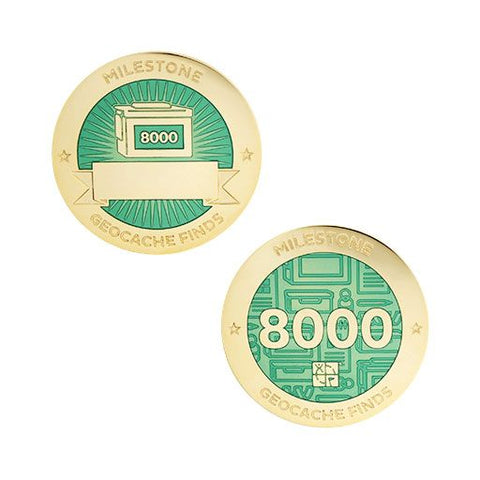 Milestone Geocoin and Tag Set - 8000 Finds