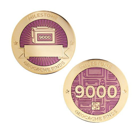 Milestone Geocoin and Tag Set - 9000 Finds