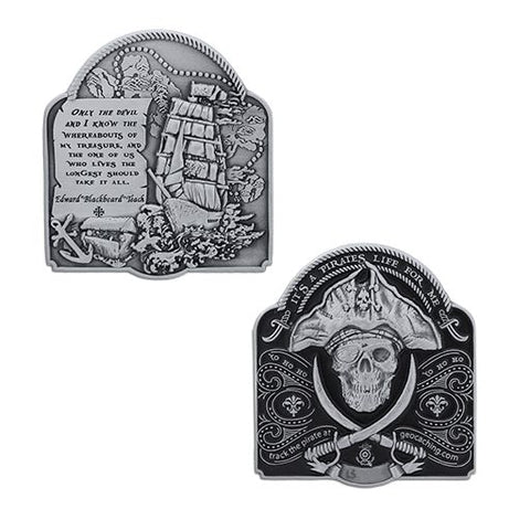 2019 Pirate Geocoin - Antique Silver