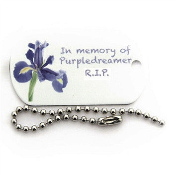Purpledreamer memorial travel tag
