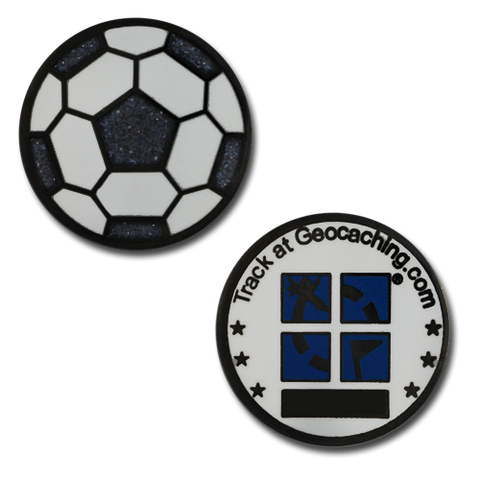 Soccer Ball Mini Geocoin - with glitter