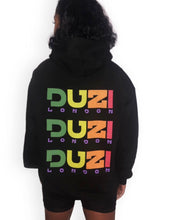 Load image into Gallery viewer, Black hoodie - multicolour logo with back print