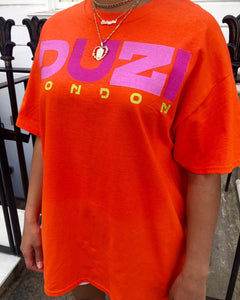 Orange t-shirt - pink and purple logo