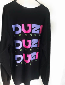 Black long sleeve t-shirt - pink and purple logo with back print