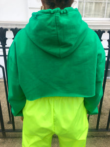 Green cropped hoodie with white logo