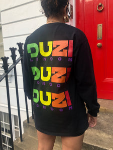Black long sleeve t-shirt - multi colour logo with back print