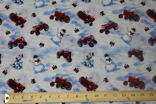 Farmall Tractors and Snowmen Toss Fabric