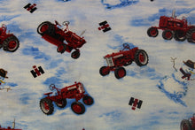 Load image into Gallery viewer, Farmall Tractors and Snowmen Toss Fabric