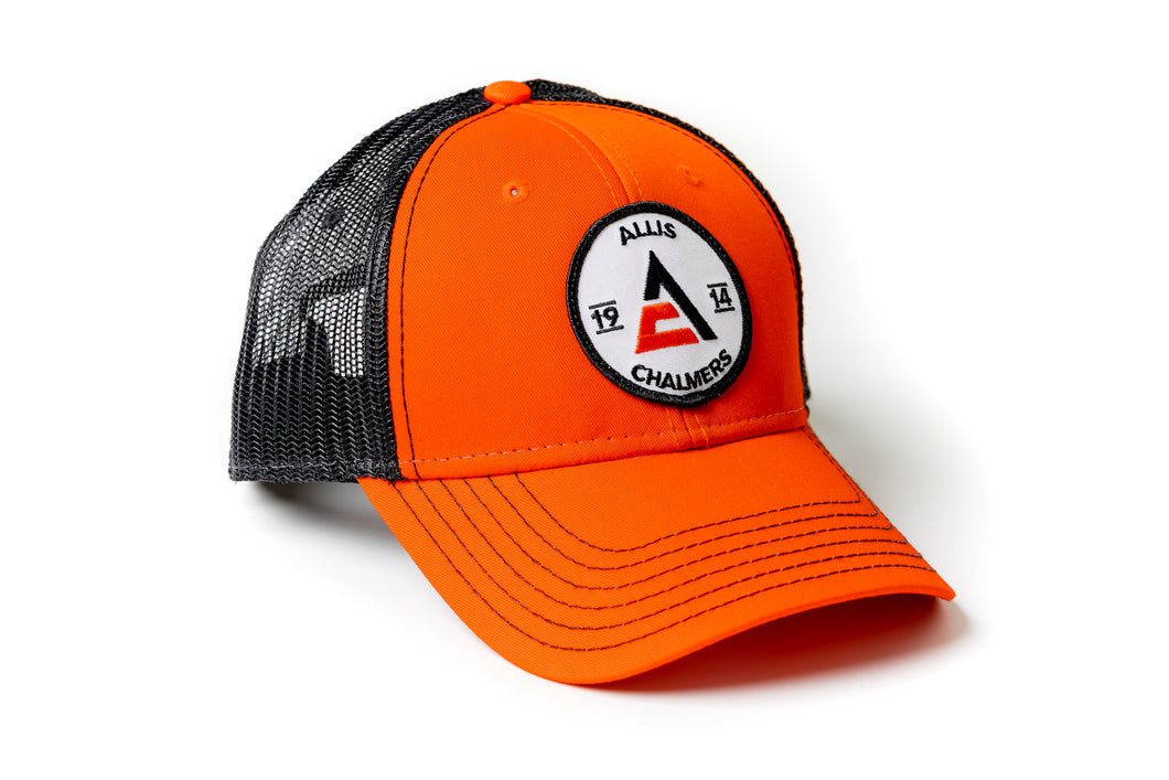 Allis Chalmers Hat, 1914 Logo, Orange/Black Mesh