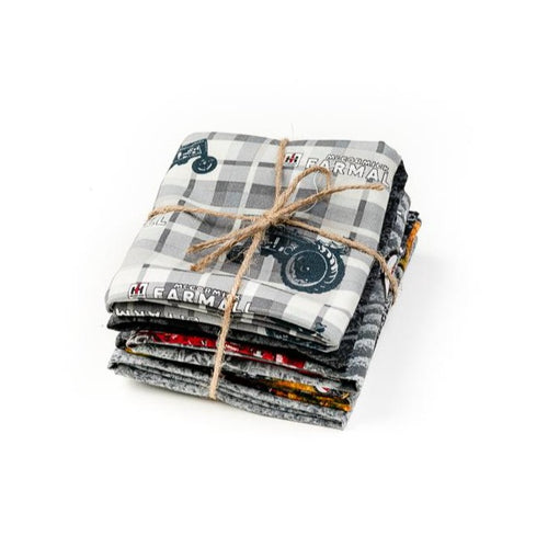 IH Farmall Tractor Fabric Fat Quarter Bundle, Gray, Set of Five
