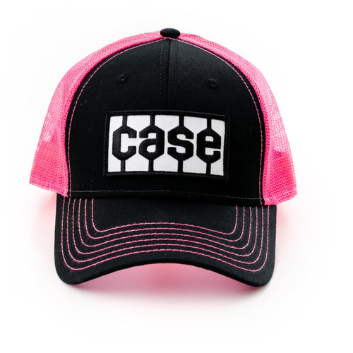 Case Tread Logo Hat, Black/Pink Mesh