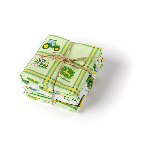 John Deere Tractor Fat Quarter Bundle, Green and White