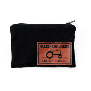 Allis Chalmers Zip Pouch, Leather Emblem