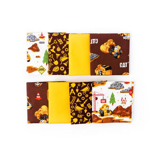 CAT Machinery Fabric Fat Quarter Bundle, Eight Fat Quarters, Kids Prints