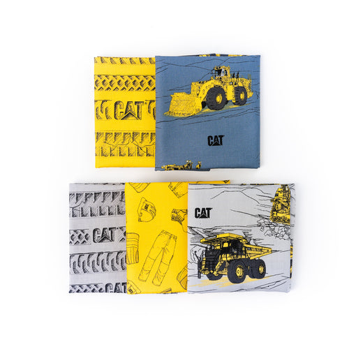 CAT Machinery Fabric Fat Quarter Bundle, Five Prints