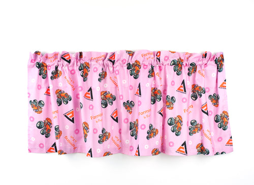 Allis Chalmers Kids Tractor Window Valance, Pink