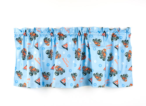 Allis Chalmers Kids Tractor Window Valance, Blue