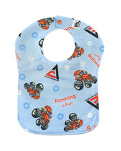 Load image into Gallery viewer, Allis Chalmers Baby Bib, Blue, Reversible