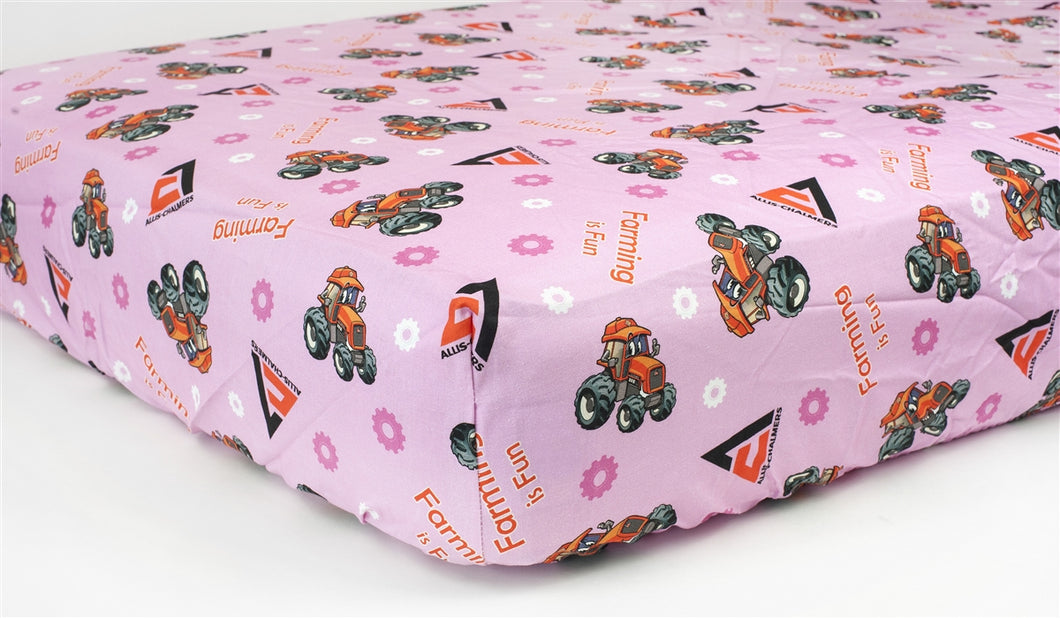 Allis Chalmers Crib Sheet, Pink