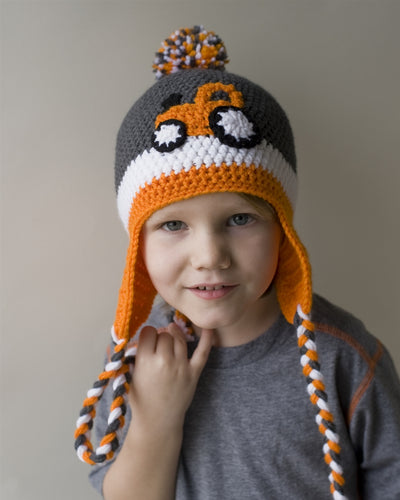 Orange Tractor Kids' Winter Hat