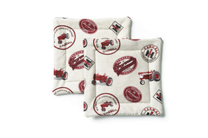 Farmall Tractor and Logo Pot Holders, cream