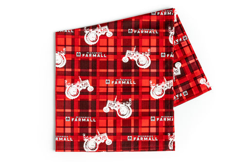 Farmall IH Tractor and Logo Bandanna, Red Plaid