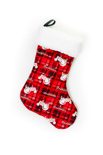 IH Farmall Christmas Stocking: Red Plaid with Tractor Silhouettes