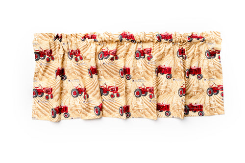 Farmall Tractor Window Valance, Cream with Red Tractors