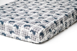 Farmall Tractor Crib Sheet, Gray Plaid