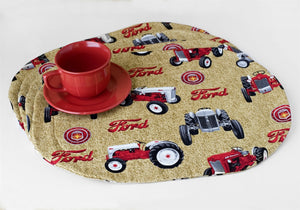 Ford Tractor Oval Place Mats, tan
