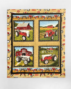 Ford Tractor Baby Quilt or Wall Hanging, tan