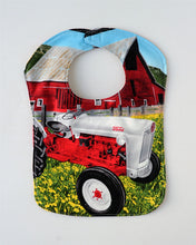 Load image into Gallery viewer, Ford Jubilee/NAA Tractor Baby Bib, Reversible