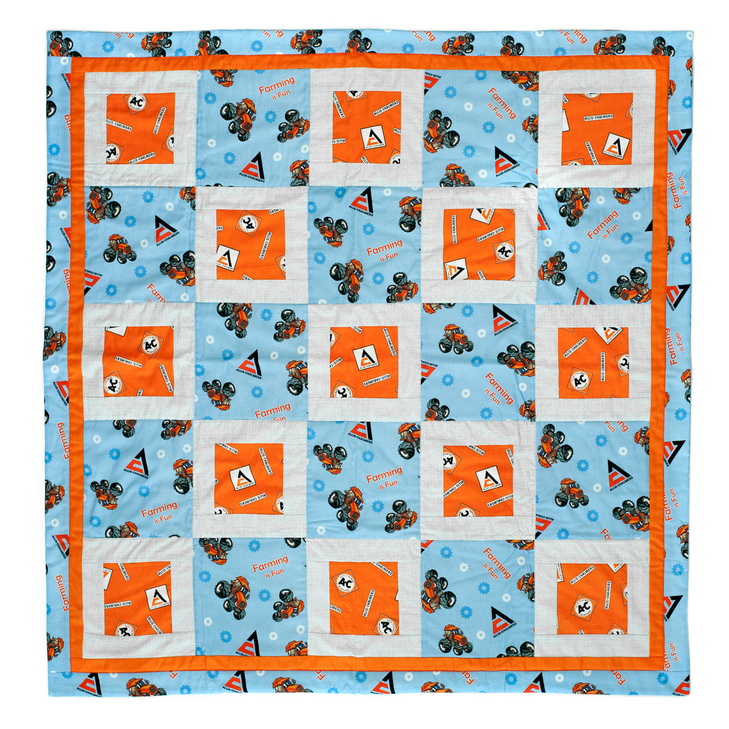 Allis Chalmers Tractor Baby Quilt, Blue