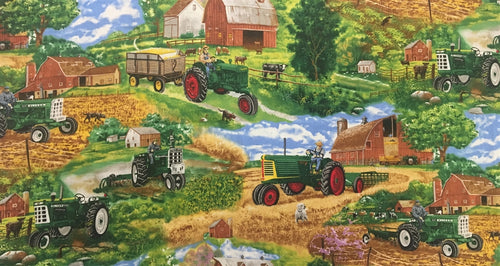 Full Bolt: Oliver Tractor Fabric, Farm Scene