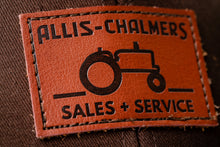 Load image into Gallery viewer, Allis Chalmers Leather Emblem Hat, Brown Mesh, Sales and Service Emblem
