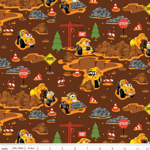 CAT Nursery Fabric, All-Over, Brown
