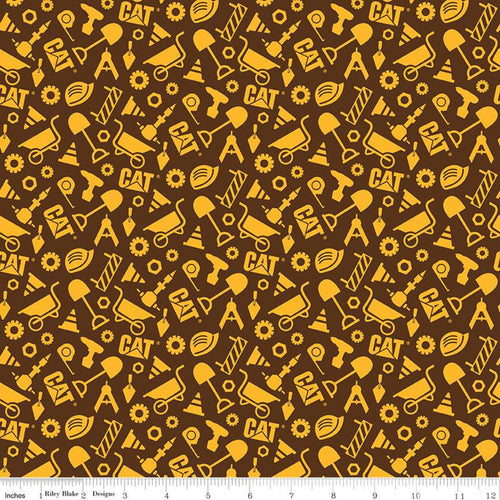CAT Nursery Fabric, Construction Shapes, Brown