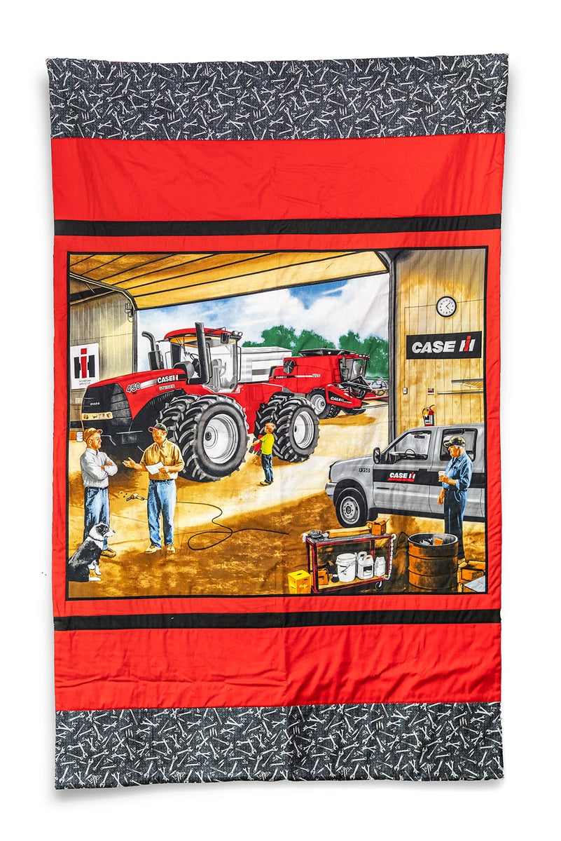 Case IH Tractor and Combine Lap Quilt, Dealership Scene