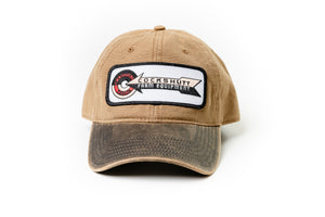 Cockshutt Logo Hat, Tan with Oil Distressed Brim