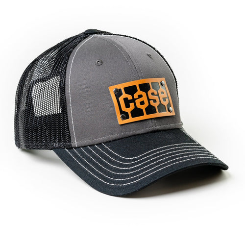 Case Tread Logo Leather Emblem Hat, Gray and Black Mesh