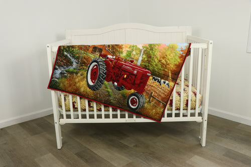 IH Farmall Tractor Nursery Set, Quilt and Sheet, Farmall M tractor and Tan Sheet