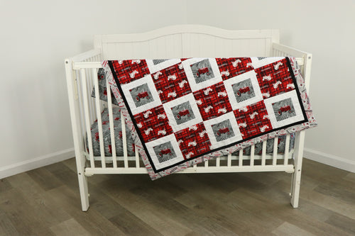 IH Farmall Tractor Nursery Set, Quilt and Sheet, Gray and Red